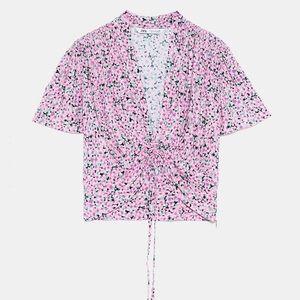 Zara Printed Gathered Blouse